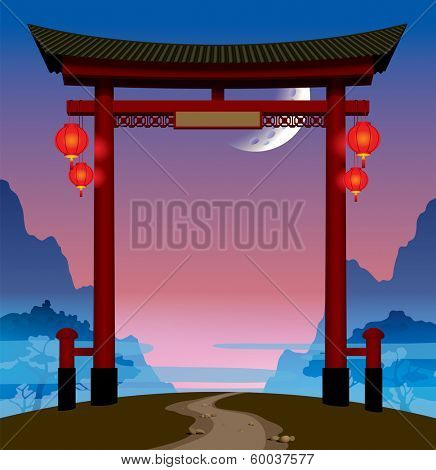 Vector image of the chinese gate with red lights on a hill with a footpath against the background of the dawn sky with moon and mountains in the fog