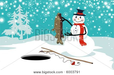 Funny snowman ice fishing vector