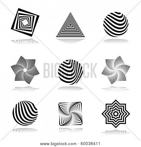 Design elements set. Abstract graphical icons. Vector art.