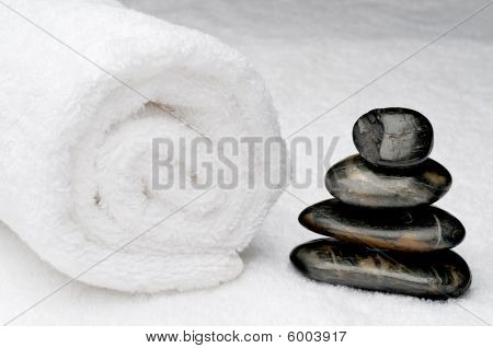 Spa Towel With Dark Spa Stones