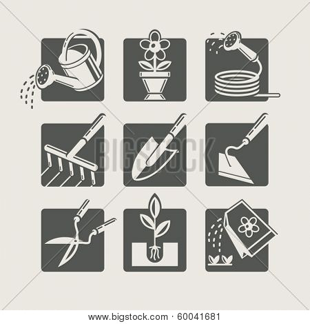 Garden tools. Icons set . Vector Illustration.