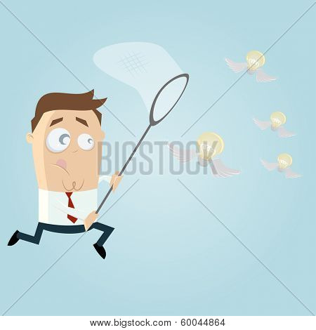 businessman catching flying bulbs