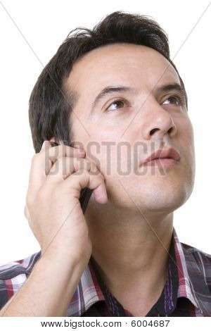 Young Casual Man Using Cellphone Isolated On White