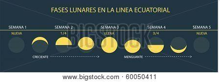 Moon Phases - at Equator (Spanish/Español)