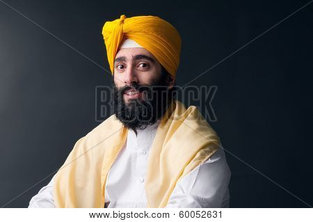Portrait of Indian sikh man with bushy beard