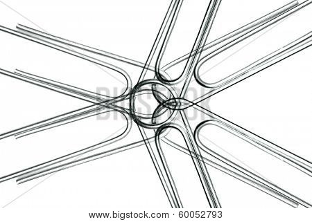 Paperclips attached to represent working together and teamwork on white background