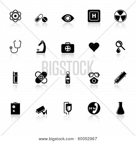 General Hospital Icons With Reflect On White Background