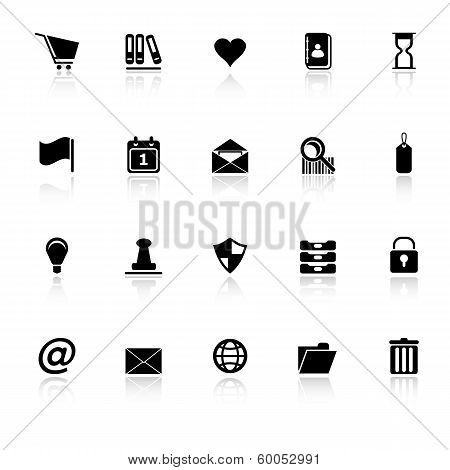 General Folder Icons With Reflect On White Background