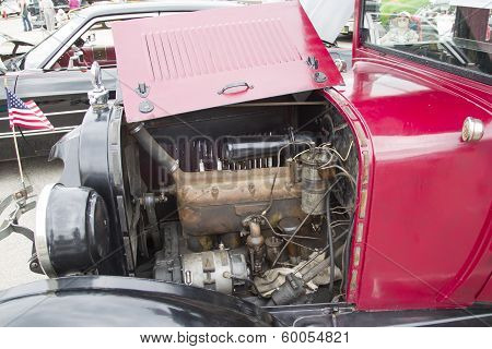 1924 Red Dodge Brothers Touring Car Engine