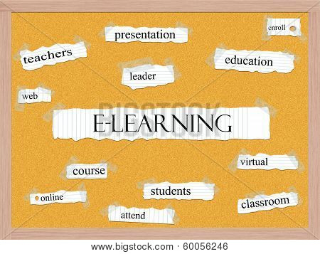 E-learning Corkboard Word Concept