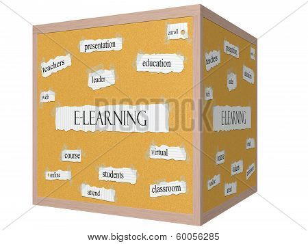 E-learning 3D Cube Corkboard Word Concept
