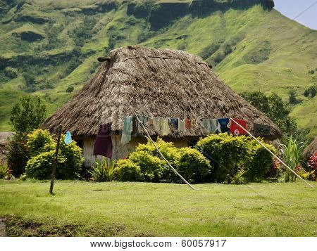 Traditional House Of Navala Village, Viti Levu, Fiji