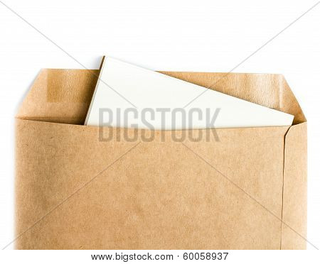 Opened Brown Recycle  Envelope With Paper Letter Inside On White Background, Closeup