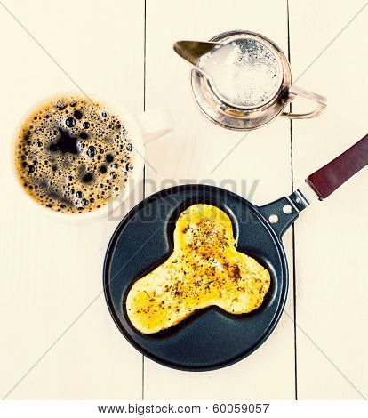 Fried Eggs In Fun Form Of Man Penis In A Frying Pan With Coffee And Milk