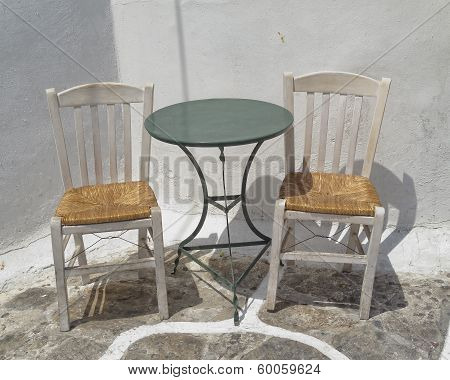 chairs and table traditional coffeehouse Greece