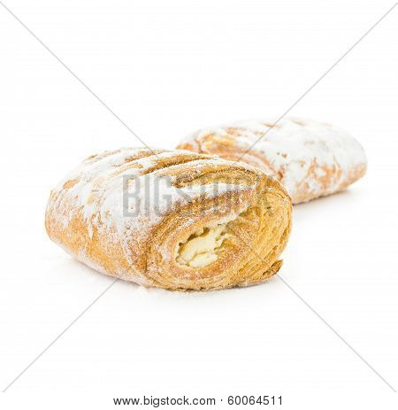 Fresh and tasty croissant isolated on white