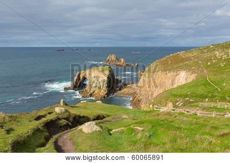 Coast path Lands End Cornwall England English tourist attraction