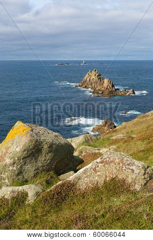 Coast and lighthouse Lands End Cornwall England