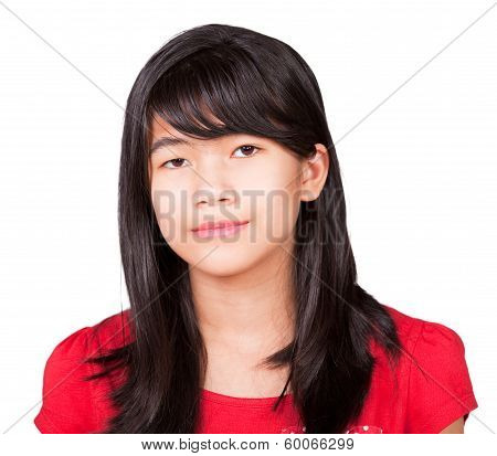 Preteen Biracial Girl In Red Shirt On White Background