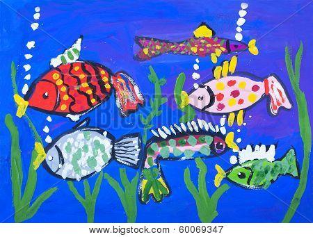Child's Gouache Picture Of The Sea Bottom