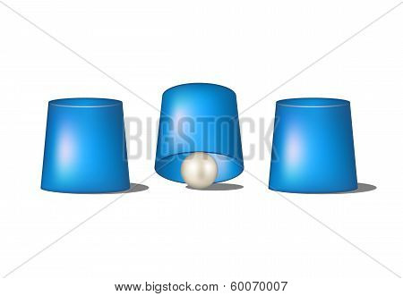 Thimblerig with blue cups and ball