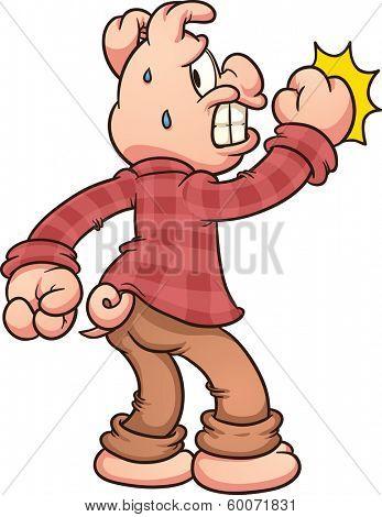 Scared cartoon pig knocking. Vector