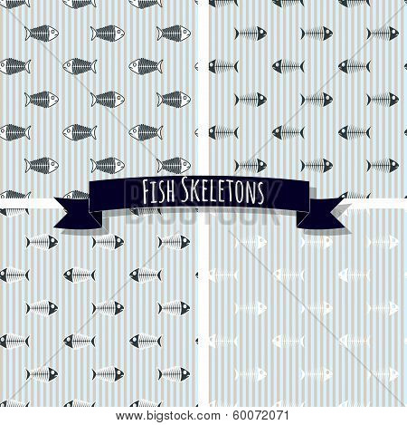 Set of Fish Skeleton Seamless Patterns