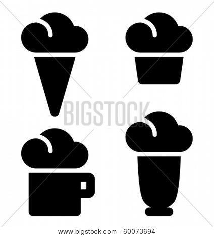 Ice cream, cake, beverage and milk shake black vector icons