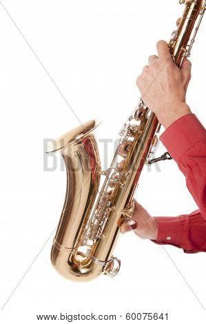 Man Playing Saxophone In Closeup