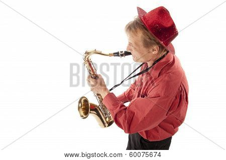 Man Playing Tenor Saxophone From Above