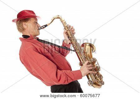 Man Playing Tenor Saxophone Leaning Backwards