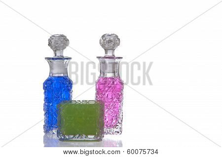 Pink Blue Green Glass Carafe