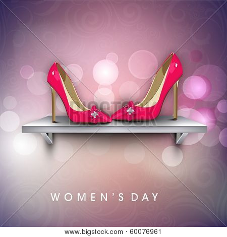 Happy Womens Day greeting card or poster design with pink ladies shoe on stage on shiny purple background.