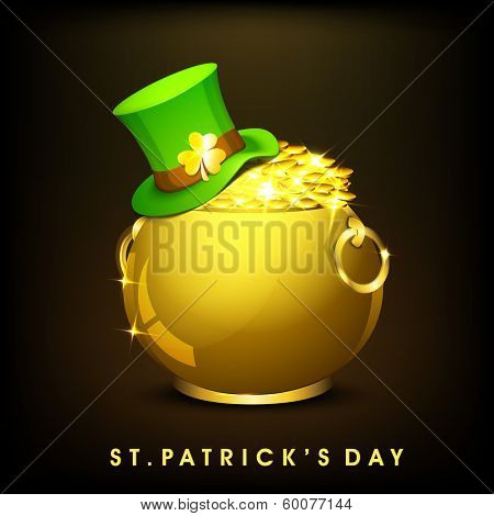 Happy St. Patrick's Day celebration poster, banner or flyer with golden pot full of gold coins, hat on black background.