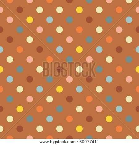 Retro vector seamless pattern, background or texture with blue, yellow, green and red polka dots