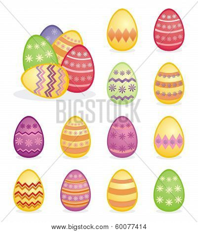 Colorful easter eggs vector illustration isolated on white background set.