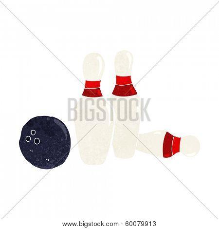 cartoon bowling ball and skittles 库存矢量图和