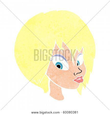 cartoon pretty female face pouting