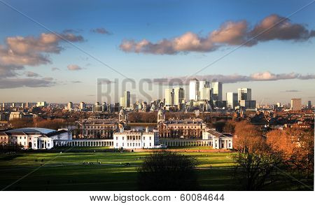 view of Greenwich park and Canary Wharf business aria on the back, London UK