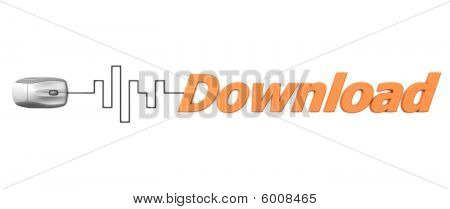 Orange Word Download With Grey Mouse - Digital Cable