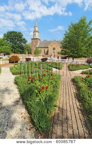 Gardens At Colonial Williamsburg In Front Of Bruton Parish Church Vertical