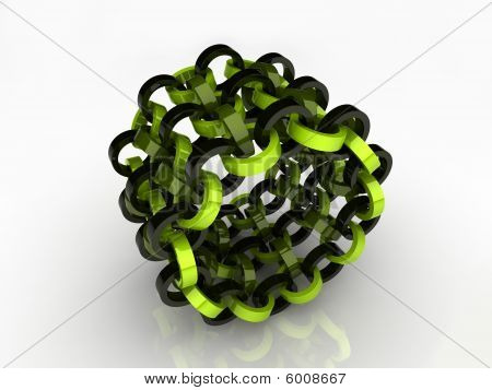 Abstract green and black circle chain