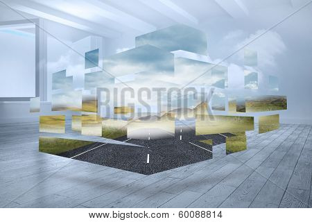 Open road on abstract screen against room with holographic cloud