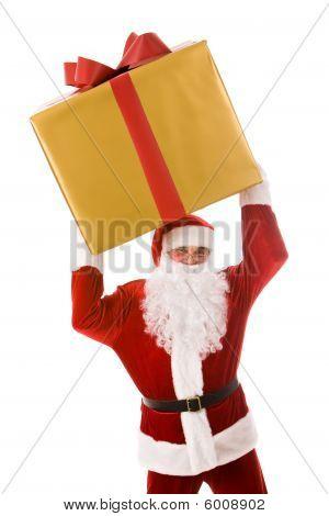 Santa con caja de regalo