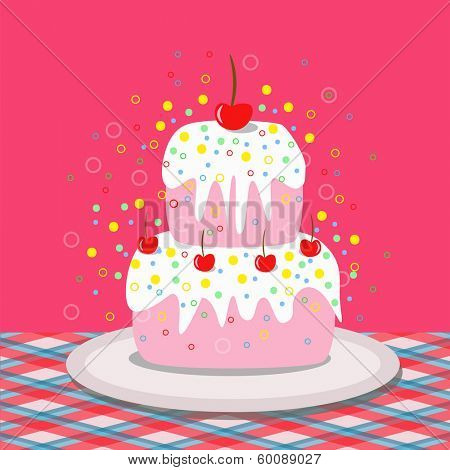 tasteful cake with cherries
