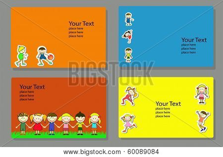 cover design template with happy, active kids