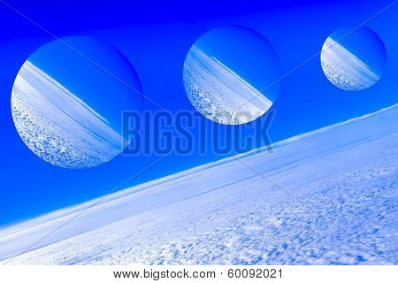 Imaginary planets, depiction of a space of fantasy