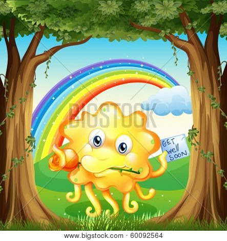 Illustration of a monster with a get-well-soon card and a rainbow in the sky