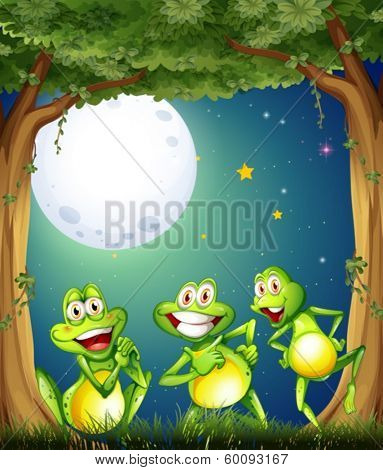 Illustration of the three playful frogs playing at the woods