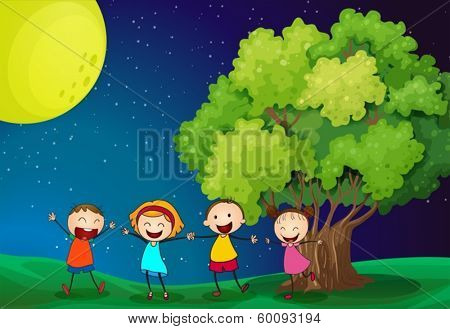 Illustration of the kids playing happily near the tree